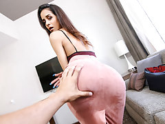 She asks him to help her spread and then finally determines to give up her cock-squeezing Cougar pussy. They head to the room and she deep throats his dick, getting it wet and well-prepped for insertion. She showcases off her jewel piercing and then leans
