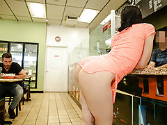 Just observe that ass wiggle as she ambles around this sandwich supermarket looking like a entire snack. She sits down and starts eye poking our man before reaching down to pull her microskirt up and display off her cheetah print panties. That is where sh