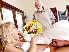 Katie Morgan is a scorching blonde trophy wife and stepmom. She is arriving today and her dipshit spouse left behind to get her flowers and groceries. He runs out and that gives Katie the chance to pulverize her step son like she has always wanted.