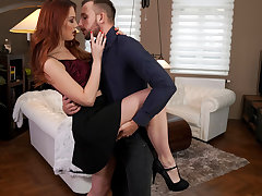 Adorable and lusty Charlie Crimson dances with her meeting before heading to the room to love a bald pussy stiffie rail